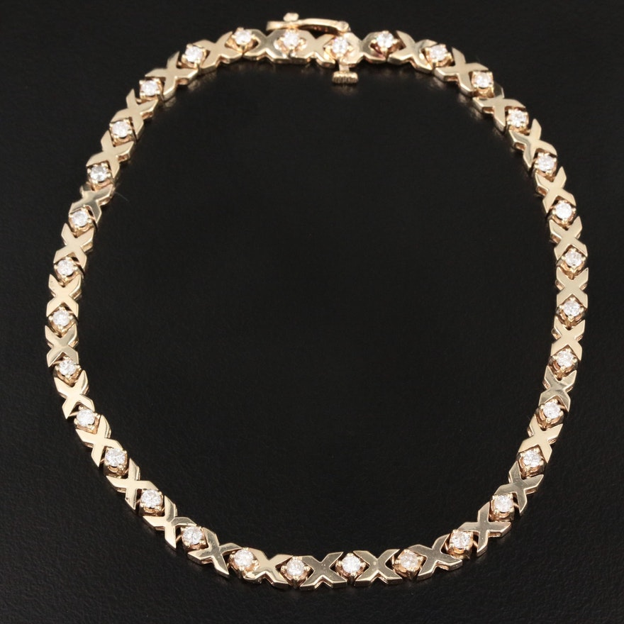 "14K Yellow Gold 0.96 CTW Diamond ""XO"" Link Bracelet"