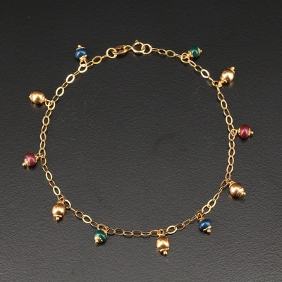 14K Yellow Gold Station Bracelet Featuring Enamel Accents