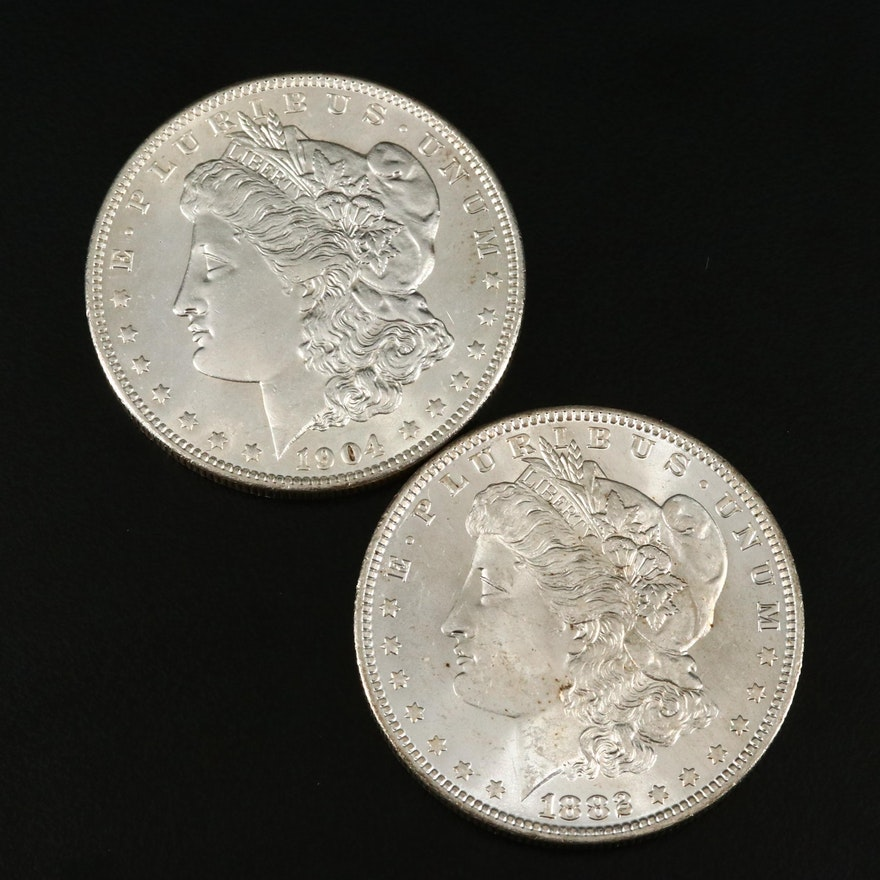 1882-O and 1904-O Morgan Silver Dollars