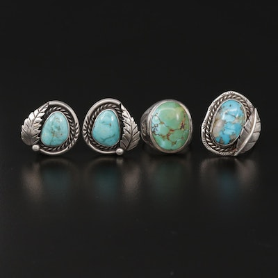 Southwestern Sterling Silver Turquoise Stamp Work Clip-On Earrings and Rings
