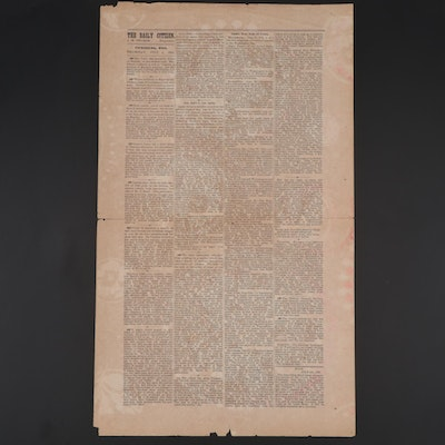 """""""The Daily Citizen"""" Confederate Newspaper Wallpaper Printing, Final Issue, 1863"""