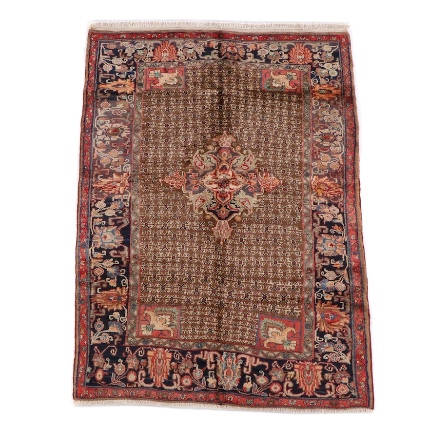 5'0 x 7'1 Hand-Knotted Persian Abadeh Wool Rug