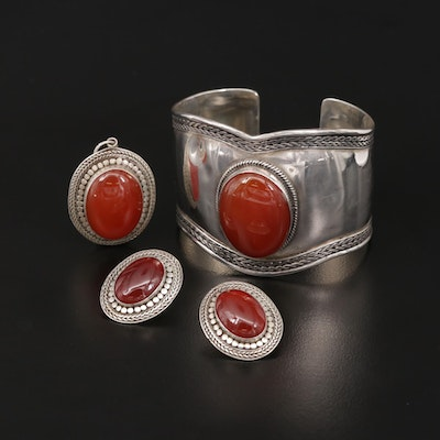 Sterling Silver Carnelian Bracelet, Earrings and Pendant Set