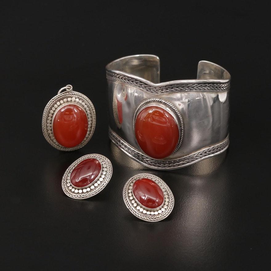 Sterling Silver Carnelian Bracelet, Earrings and Pendant Set