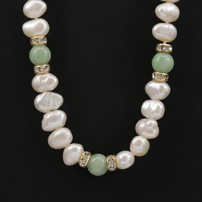 Cultured Pearl, Jadeite and Rhinestone Bead Necklace with Gold Filled Accents