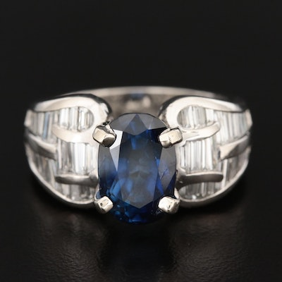 Platinum 4.16 CT Sapphire and 1.24 CTW Diamond Ring