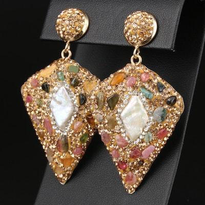Crystal, Tourmaline, and Pearl Arrowhead Shaped Earrings