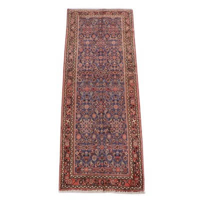 3'9 x 9'11 Hand-Knotted Persian Hamadan Wool Long Rug