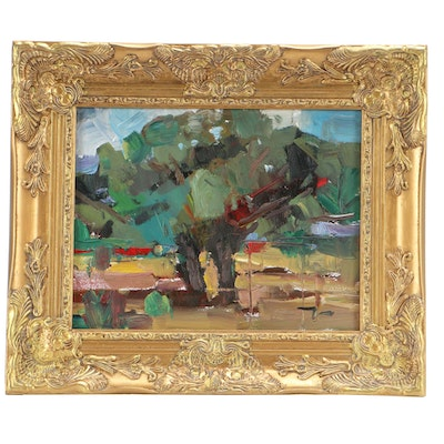 "Jose Trujillo OIl Painting ""Life in the Desert"" in 20th Century Gold Tone Frame"