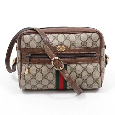 Gucci GG Supreme Coated Canvas and Leather Web Stripe Crossbody Bag