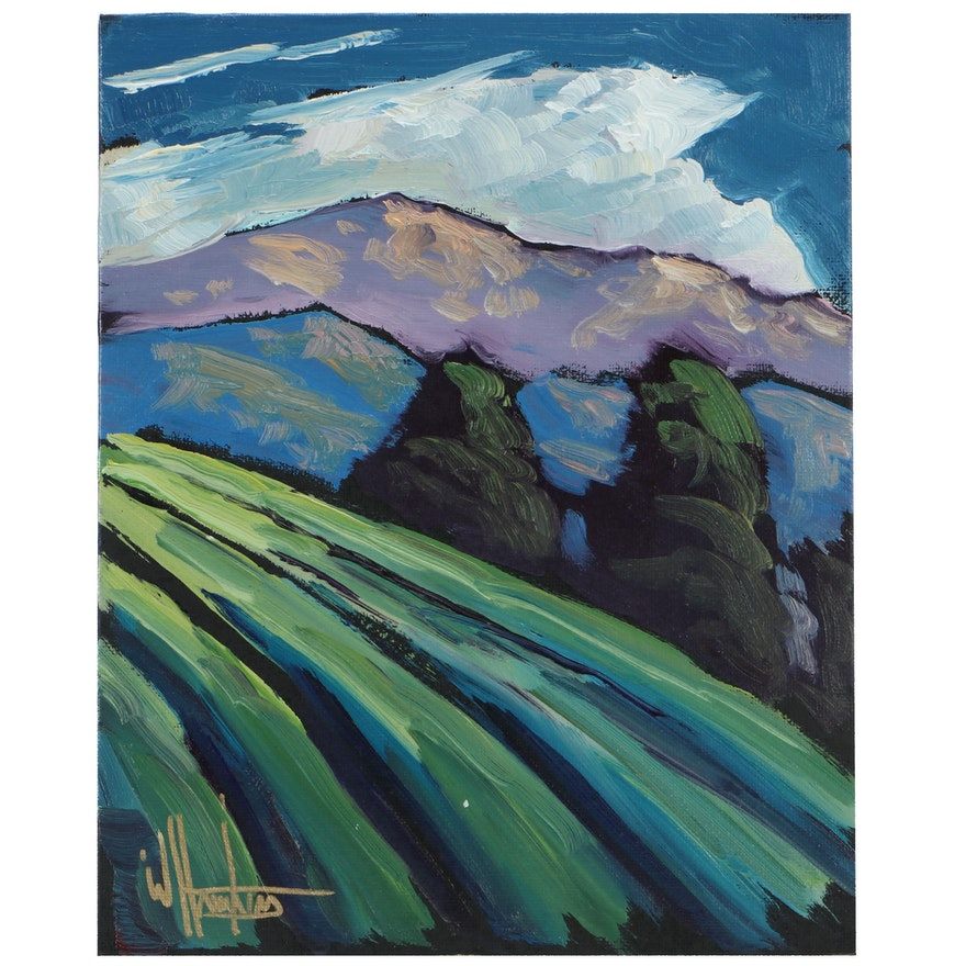 "William Hawkins Landscape Oil Painting ""Falling Scene"""