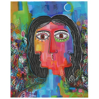 "Michel Blázquez Abstract Acrylic Painting ""Woman in the Garden Night"""