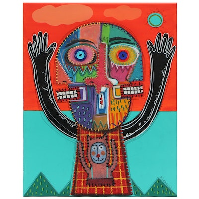 """Michel Blázquez Abstract Acrylic Mixed Media """"The Puppeteer"""""""