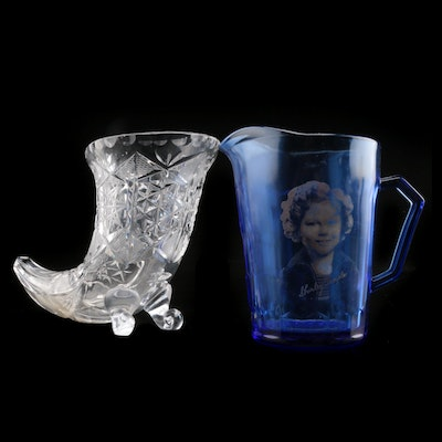"Cobalt Blue Small ""Shirley Temple"" Pitcher with Footed Cut Glass Vase"