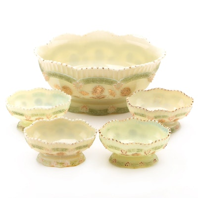 "Northwood ""Pagoda"" Custard Glass Berry Bowls, Late 19th/Early 20th Century"