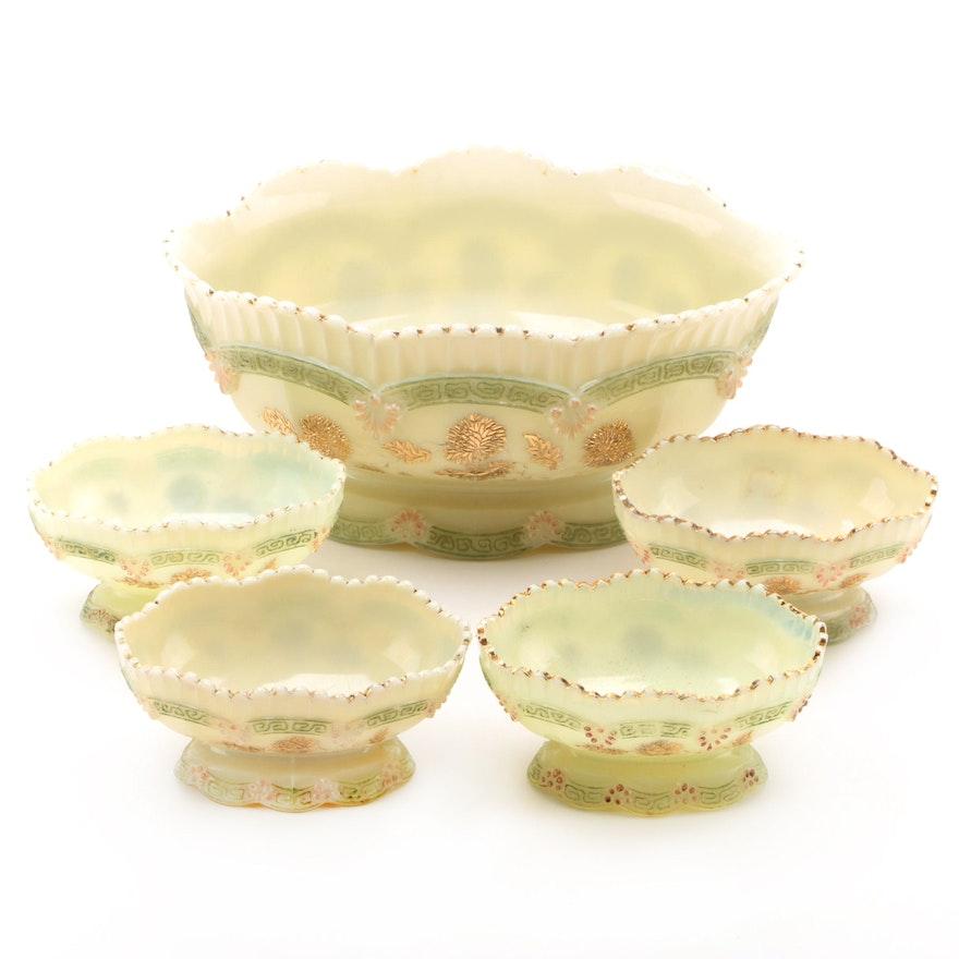 "Northwood ""Pagoda"" Custard Glass Berry Bowls, Late 19th/Early 20th Century"