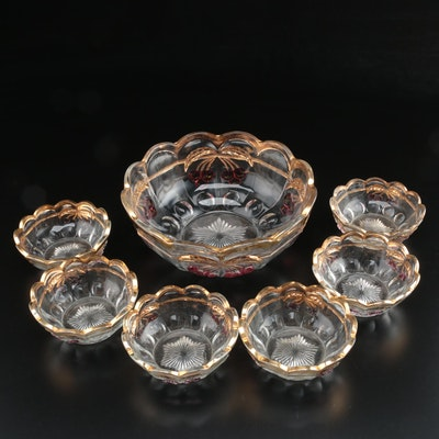 "Northwood ""Cherry and Cable"" Pressed Glass Berry Bowl Set"