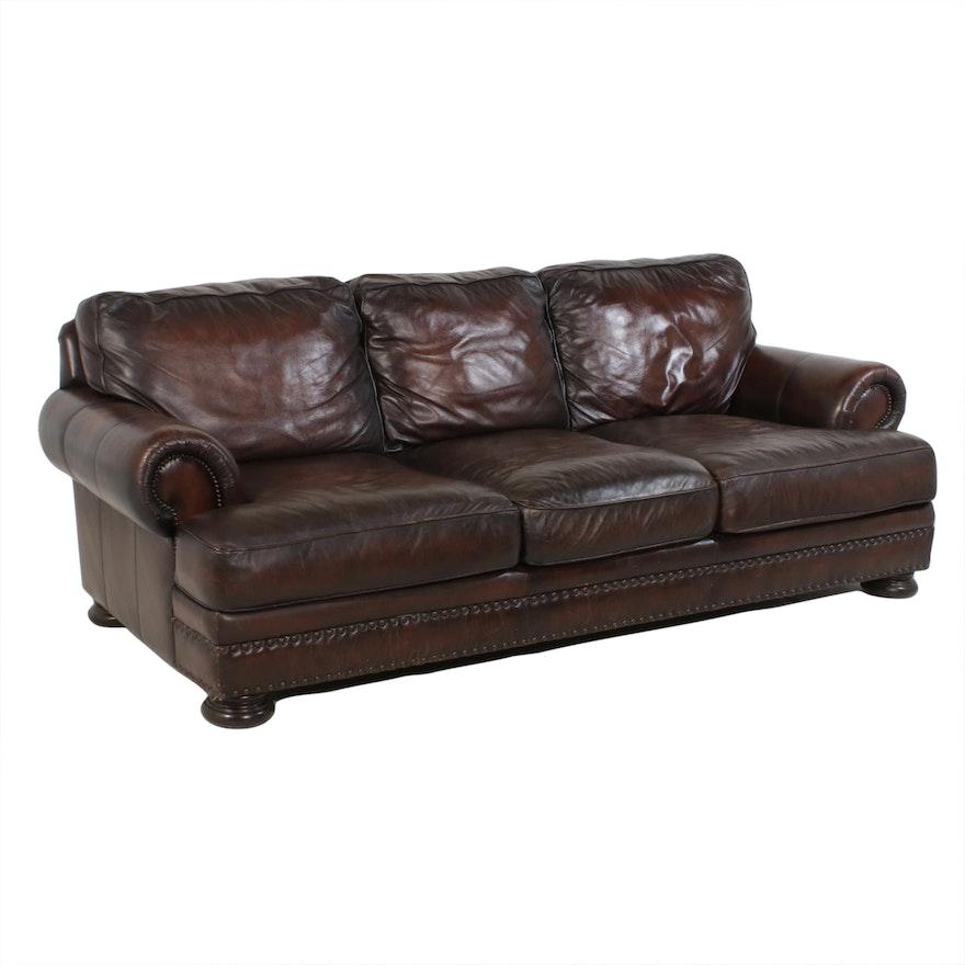 "Bernhardt ""Foster"" Brown Leather Nailhead Trim Sofa"