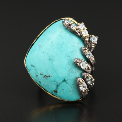 Sterling Silver Magnesite and Topaz Ring