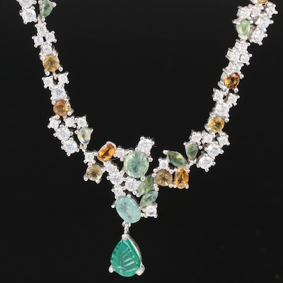 Sterling Green Chalcedony, Emerald, Fancy Sapphire and Gemstone Necklace