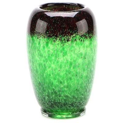 Monart Mottled Green and Red Art Glass Vase, 20th Century