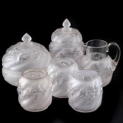 "Northwood ""Royal Ivy"" Frosted Glass Table Set and Jars, Late 19th Century"