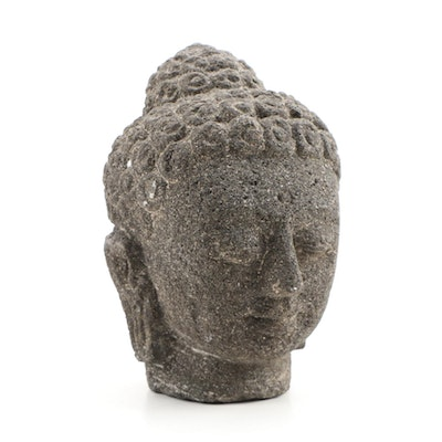 Hand-Carved Stone Buddha Figural, 20th Century