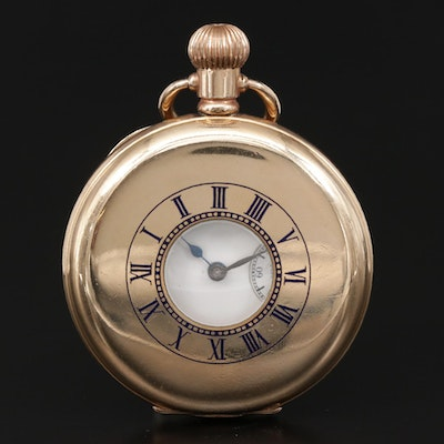 Antique Waltham Gold Filled Demi Hunter Pocket Watch, 1912