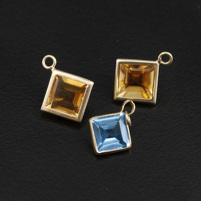 14K Yellow Gold Citrine and Topaz Earring Enhancer Drops