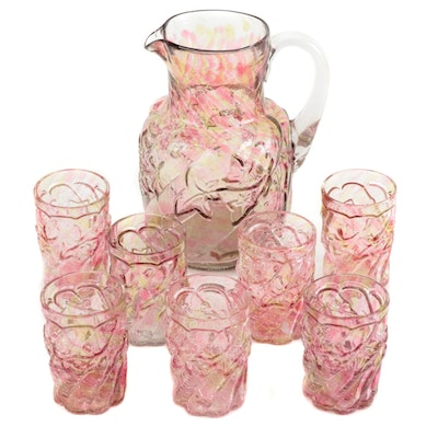 "Northwood ""Royal Ivy"" Crackle Glass Pitcher and Tumblers"