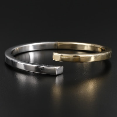 14K Yellow and White Gold Hinged Bracelet