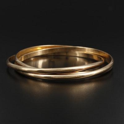 14K Yellow Gold Triple Rolling Bangle Bracelet