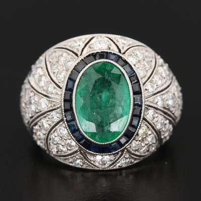 Art Deco Platinum 2.32 CT Emerald, Sapphire, and 2.97 CTW Diamond Ring