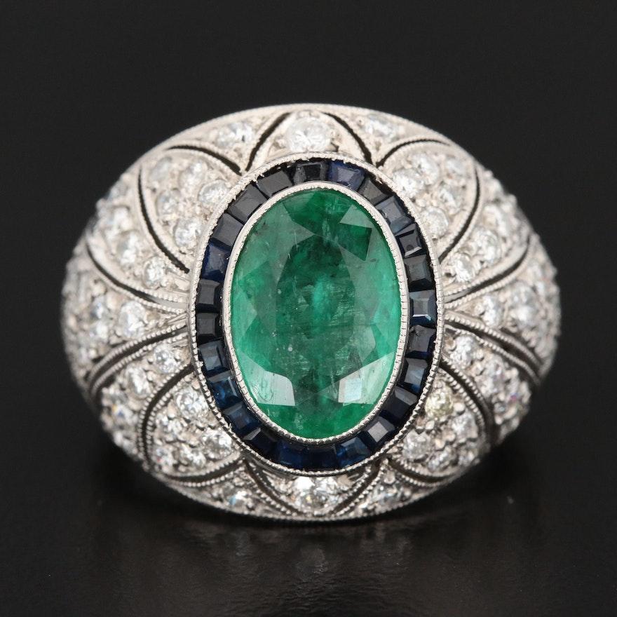 Art Deco Platinum 2.32 CT Emerald, Sapphire, and 2.97 CTW Diamond Ring