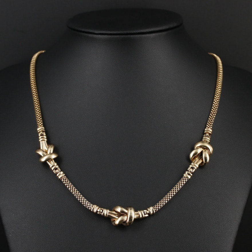 14K Yellow Gold Square Knot Station Necklace