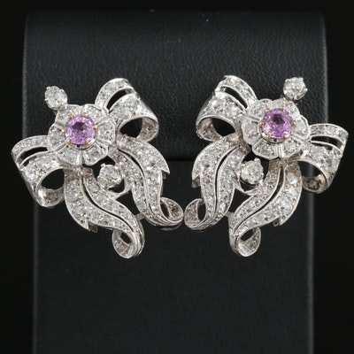 Edwardian Platinum Pink Sapphire and 1.95 CTW Diamond Earrings