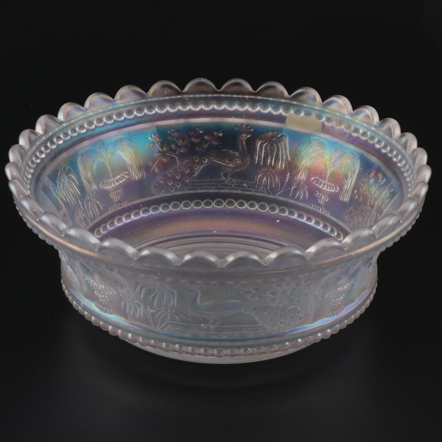 """Northwood """"Peacock at the Fountain"""" Carnival Glass Large Berry Bowl in White"""