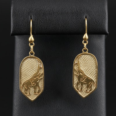 18K Yellow Gold Textured Elephant Earrings