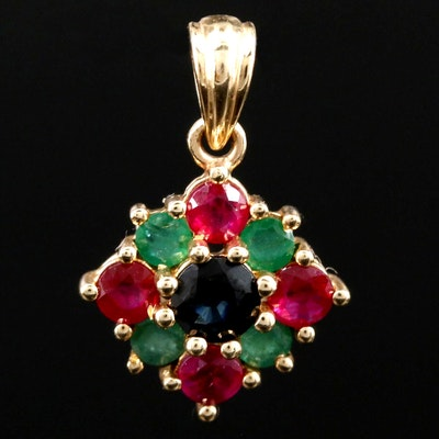 14K Yellow Gold Sapphire, Ruby and Emerald Pendant