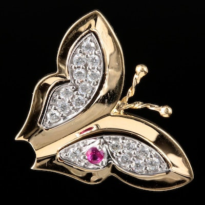 14K Yellow Gold Diamond and Ruby Butterfly Pendant