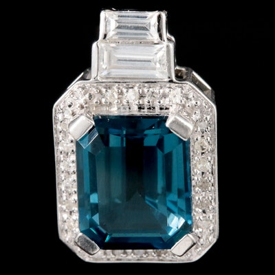 10K White Gold Topaz and Diamond Pendant