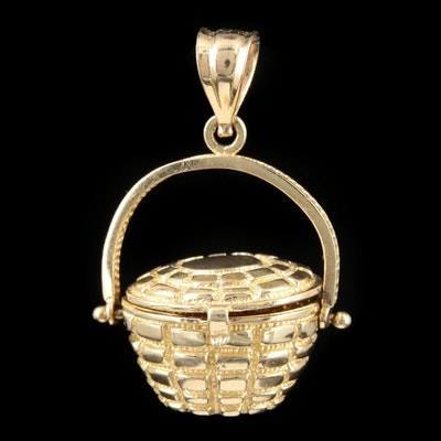 14K Yellow Gold Basket Pendant