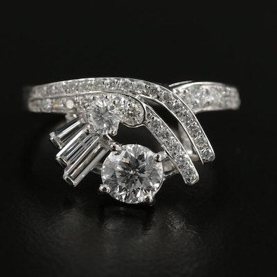 Platinum 1.30 CTW Diamond Ring with GIA Report