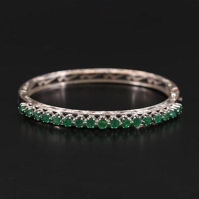 14K White Gold Emerald Scrollwork Hinged Bracelet