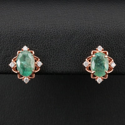 Sterling Silver Emerald and Cubic Zirconia Earrings