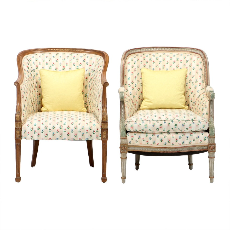 Assembled Pair of Louis XVI Style Chintz Bergères, Mid-20th Century