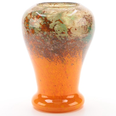 Monart Art Glass Vase With Mottled Orange, Brown, Green, and Aventurine
