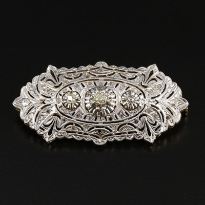Belle Epoque 18K White Gold Brooch with Platinum Front Accents