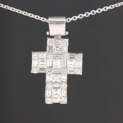 14K White Gold 3.02 CTW Diamond Cross Pendant Necklace
