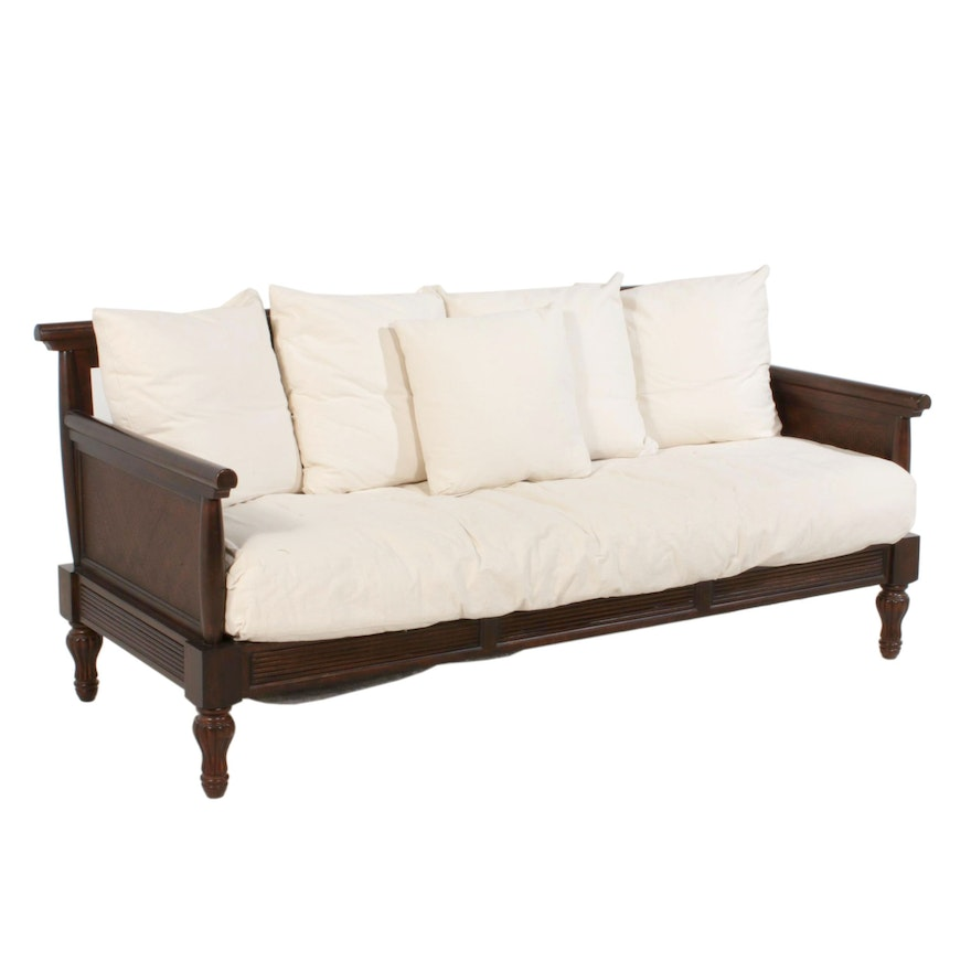 Colonial Revival Style Mahogany Finished Cane Accented Sofa
